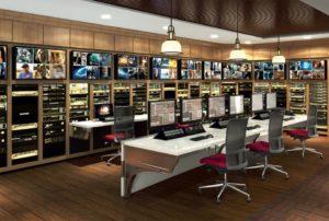 uvnitř vysílacího studia Scientology Media Productions