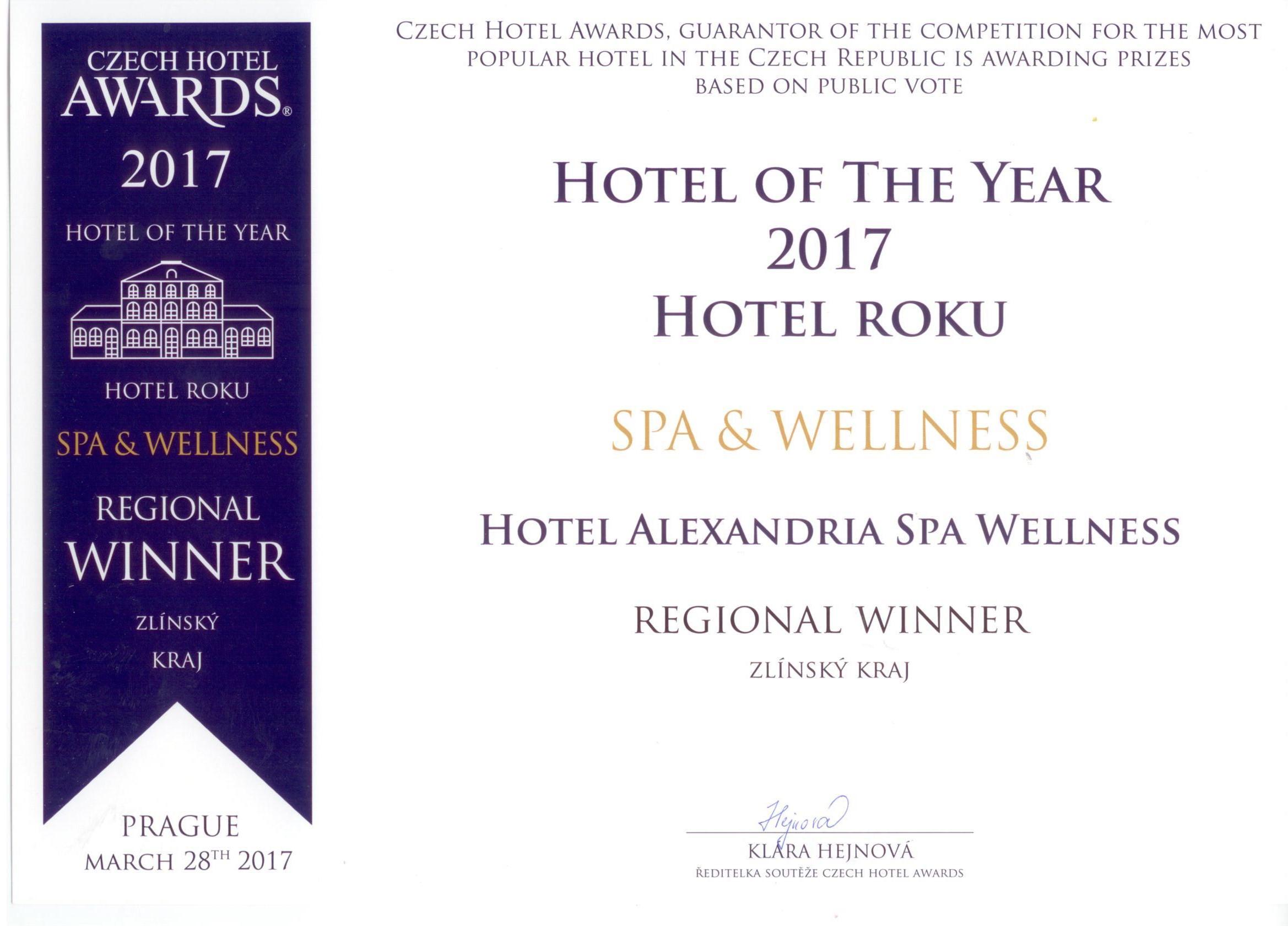 Luhačovický hotel Alexandria získal pátý titul Czech Hotel Awards